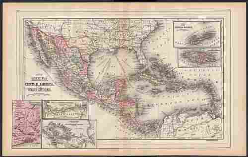 Map of Mexico showing entire Texas, Mitchell 1886