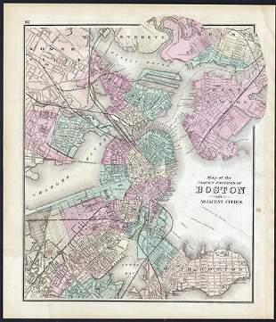 Scarce 1st edition map of Boston, O. W. Gray, 1873