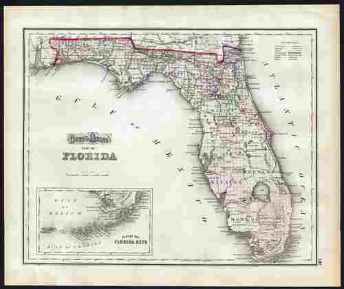 Scarce 1st ed. map of Florida, O. W. Gray 1873