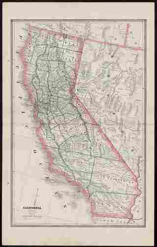 Early 2-pg map of California w/Nevada, 1883