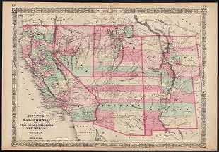 Johnson's map of the American West – great color, 1864
