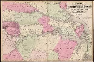 Vicinity of Richmond Civil War map, Johnson 1862