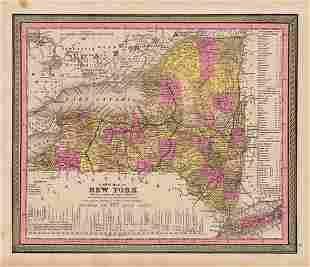 Scarce map of New York, Mitchell 1848
