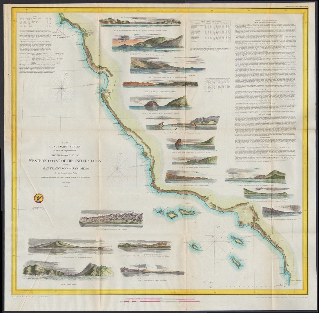 W. Coast of U. S. - Frisco to San Diego. 1852