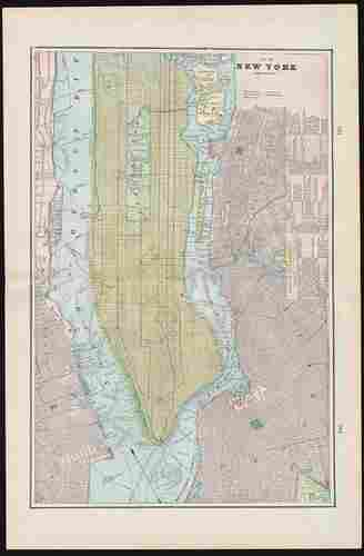 1899 vertical map of New York City & Vicinity