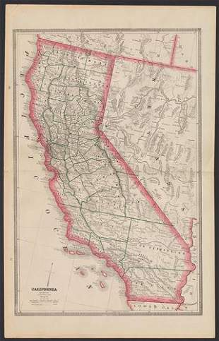 Fine example of California double-page map, 1884