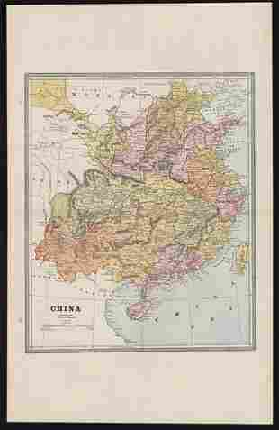 Clean vintage map of China (wide margins) (1883)