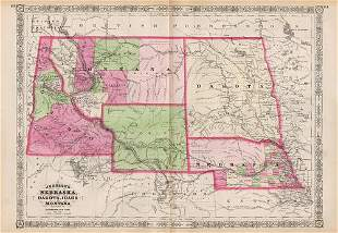 1st map to correctly depict Wyoming borders, 1865