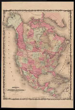 1863 map of N. America with orig. Nevada border