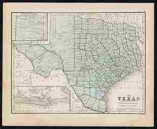 Uncommon map of Texas – Mitchell/Butler 1868
