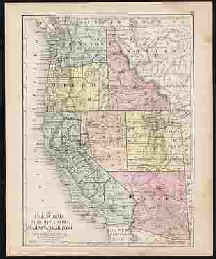 1868 map of Calif. and the West with early state