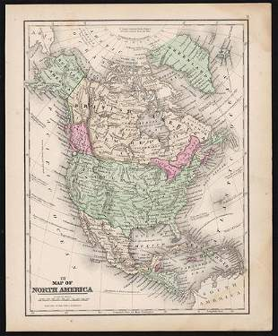 Map of N. America showing Gold Regions, 1868
