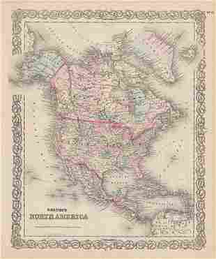 Map of N. America from scarce Colton atlas