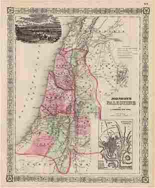 Authentic vintage map of Palestine, c1867