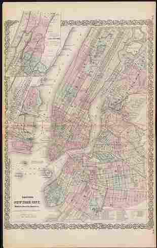 Map of NY City from very scarce Colton atlas