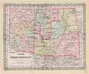 Great, scarce map of Indian Territory, 1886