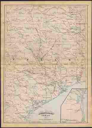 Asher & Adams' unique RR map of Texas, 1871