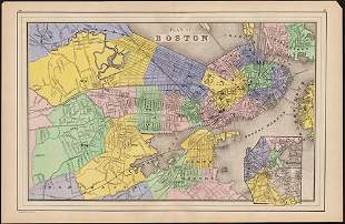1886 Plan of Boston, hand colored