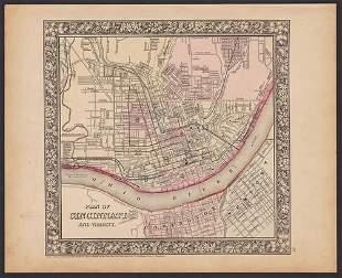 Striking early map of Cincinnati by Mitchell, 1860/62