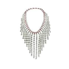 Gucci Silver Metal Pink Crystal Embellished Bib