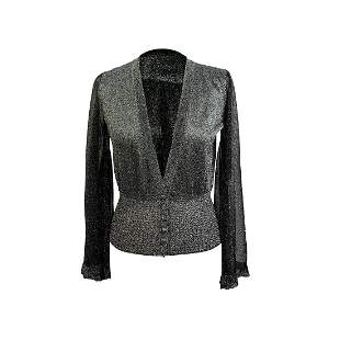 Missoni Silver Tone Lurex Cardigan with Flared Sleeves