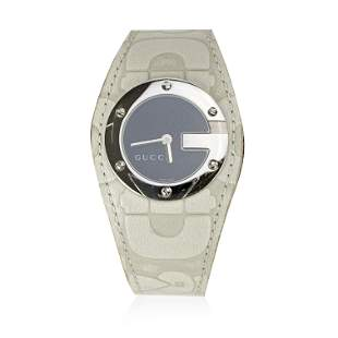 Gucci Off White Leather Stainless Steel Mod 104 Wrist