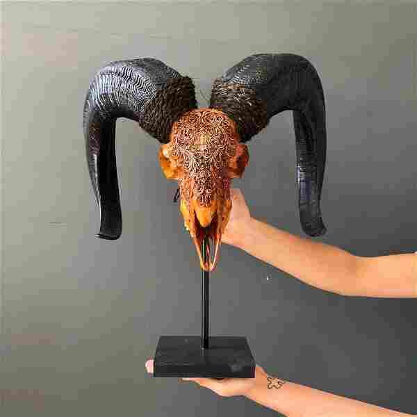 Beautiful Handcarved Large Brown Ram Skull on a custom