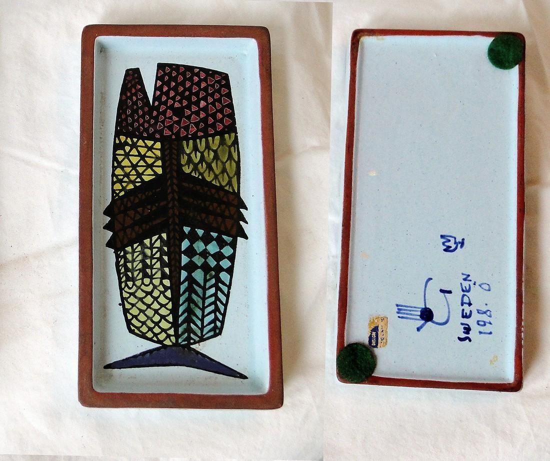 "Stig Lindberg Plates for Gustavsberg ""Karneval"" Whale"
