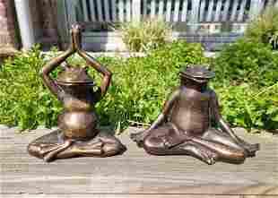 Pair of bronze frogs - Meditating frogs - Garden