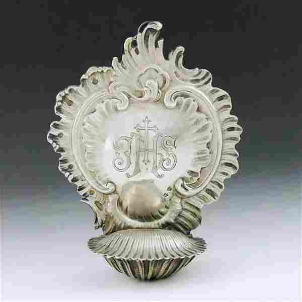 19th century German rococo sterling silver holy pool