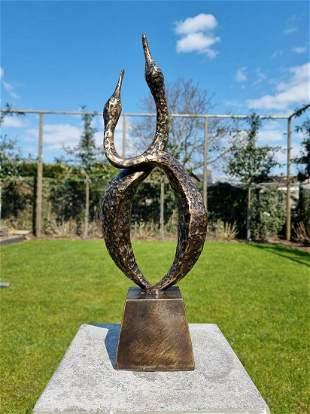 Bronze sculpture of 2 crane brids - Abstract bronze