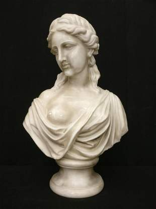 Elegant bust of Young woman in Carrara Marble - H 60 cm