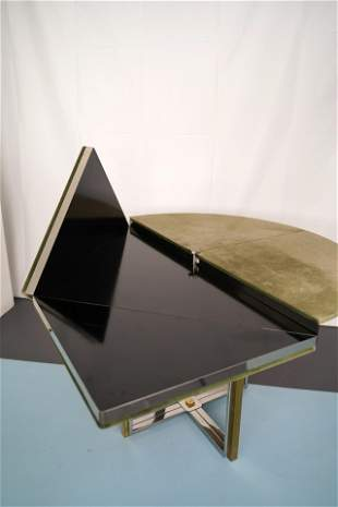 Chrome and Brass Convertible Dining Table by Romeo