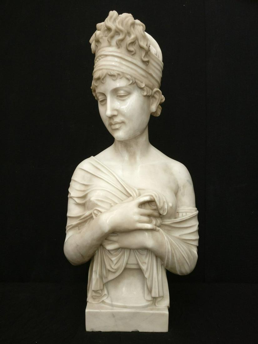 Sculpture, Bust of Juliette Récamier in Carrara marble