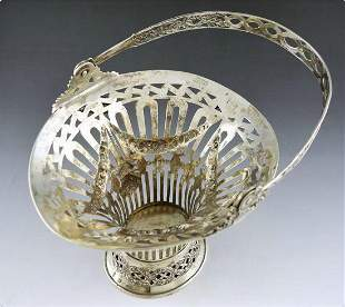 20th Century Belgian Rococo Sterling Silver Fruit Blue