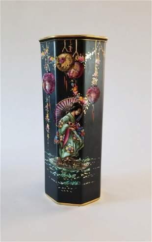 Antique Falcon Ware Polygon Japanese Lantern Vase