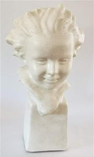 Mid Century French Crackled Porcelain Bust