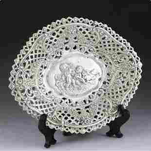 19th century Italian rococo sterling silver fruit plate
