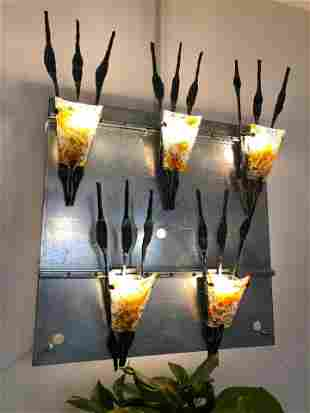 Set of Five Large Italian Brutalist Glass and Iron Wall