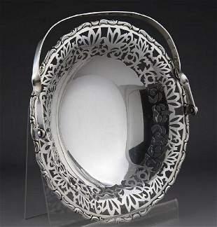 Japan Meiji period carved sterling silver basket