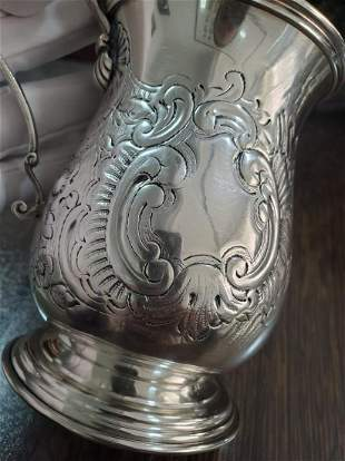 20th century Italian sterling silver carved water cup