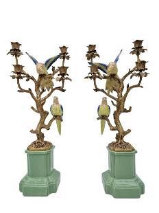 Porcelain candlesticks with bronze ornaments - Parrots