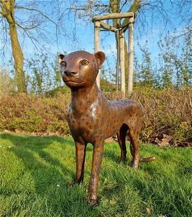 Bronze standing Cheetah - garden sculptures - Garden