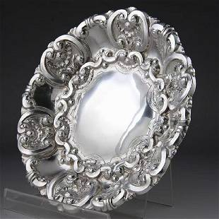 Portuguese sterling silver carved plate at the