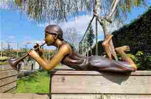 Garden sculpture - Fountain - Bronze girl with Flute -