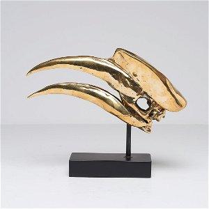 Finest detail, bronze-cast Great Hornbill Skull -