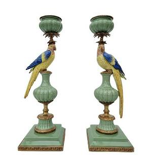 Colonial candleholders - Parrots - Green & gold -