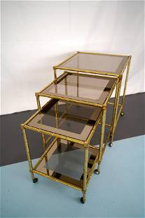 Tris of Faux Bamboo Gilded Brass Nesting Bar Cart,