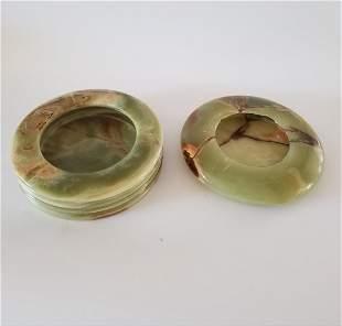 Green Jadeite/Onyx Ashtray - Lot of 2