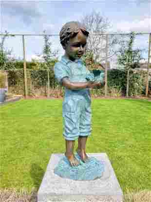 Bronze garden sculpture - Boy with bird - Bronze